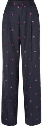 Paul & Joe Nora Embroidered Checked Wool-blend Wide-leg Pants - Navy