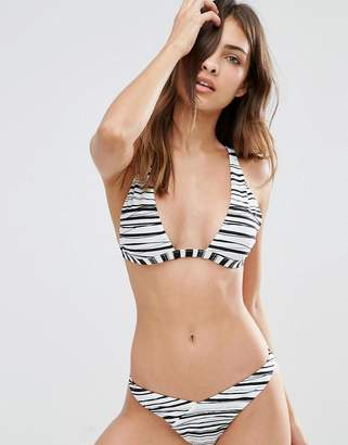 Evil Twin Reversible Khaki/Stripe Triangle Bikini Top