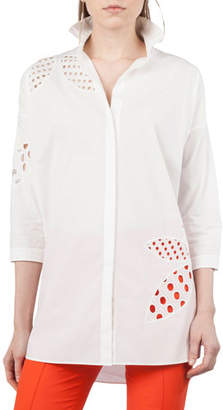 Akris Punto Button-Front Collared Cotton Tunic Shirt w/ Lace-Leaves Cutouts