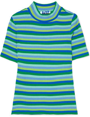 Sjyp Striped Ribbed Cotton-blend T-shirt - Green