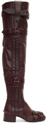 Prada Burgundy Buckle Over-the-Knee Boots