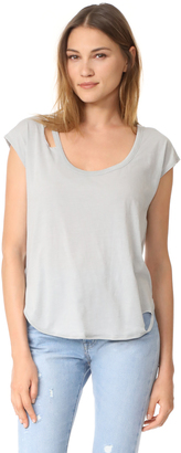 Chaser Deconstructed Scoop Neck Cap Sleeve Tee $53 thestylecure.com