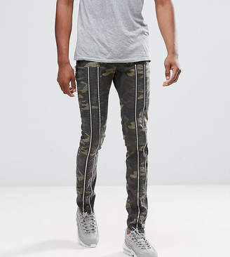 Asos Tall Skinny Pants With Zip Detail And Camo Print