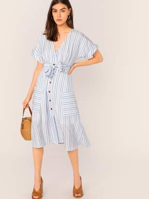 Shein Surplice Neck Cuff Sleeve Patch Pocket Striped Belted Dress