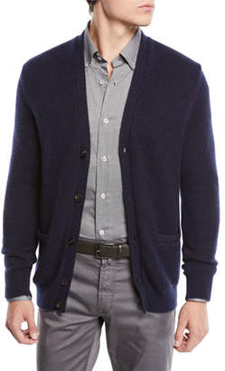 Neiman Marcus Il Borgo for V-Neck Button-Front Cashmere-Silk Cardigan
