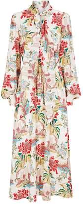 Peter Pilotto Floral Print Pussybow Maxi Dress