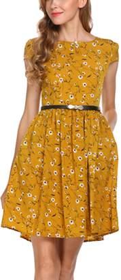 Zeagoo Women Short Flora Party Dress High Waist Flora Belted Dress
