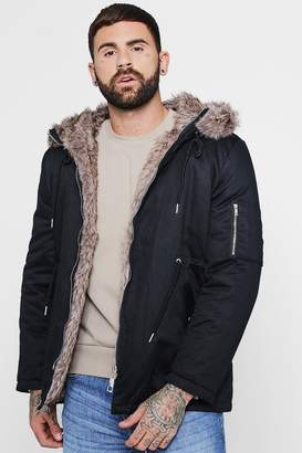 boohoo Cotton Padded Parka With Faux Fur Hood