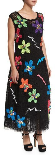 Marc Jacobs Marc Jacobs Neon Flower-Embroidered Guipure Dress, Black