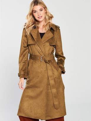 Warehouse Suedette Trench Coat - Tobacco