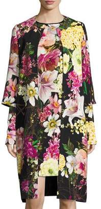Naeem Khan Floral-Print 3/4-Sleeve Coat, Black