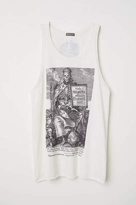 H&M Tank Top with Printed Design - Charcoal gray - Men