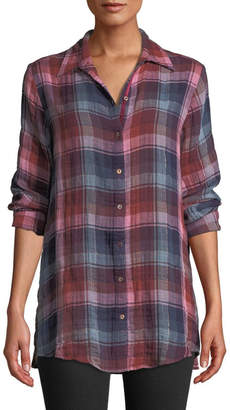 Johnny Was Lorie Embroidered-Back Plaid-Shirt