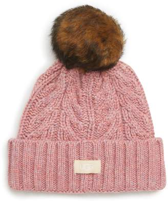 UGG Collection Pompom Cable Genuine Shearling Beanie