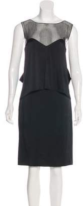 Maison Margiela Mesh-Accented Satin Dress w/ Tags
