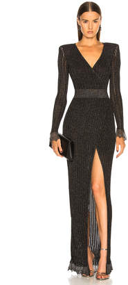 Balmain Lurex Rib Knit Maxi Wrap Dress