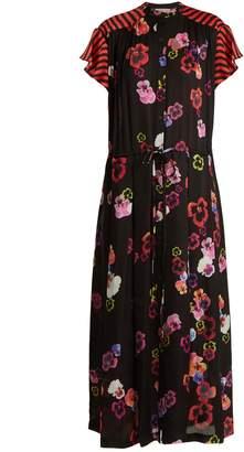 Preen Line Nova pansy-print and striped crepe dress
