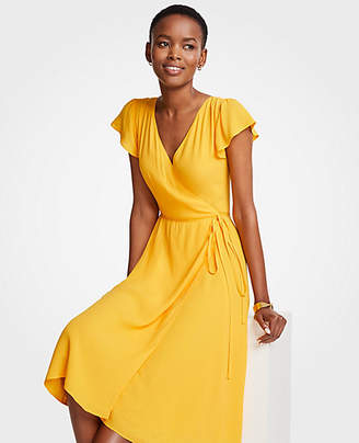 Ann Taylor Marigold Ruffle Wrap Dress