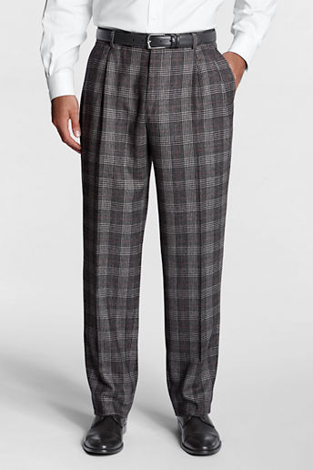 Lands' End Men's Regular Pleat Front Traditional Fit Pattern Flannel Trouser