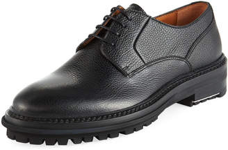 Lanvin Men's Grained Leather Lug-Sole Derby Shoes
