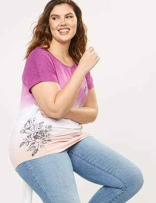 Lane Bryant Ombre Dip-Dye Floral Graphic Tee