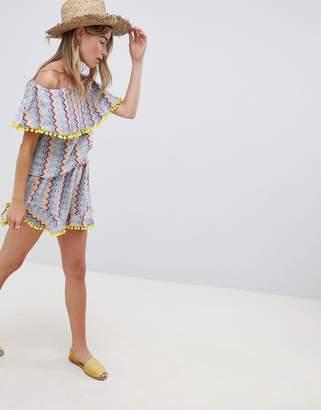 Glamorous Shorts With Pom Pom Trim In Zig Zag Stripe Co-Ord