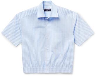 Balenciaga Cropped Striped Cotton-Poplin Shirt $445 thestylecure.com