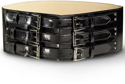 Triple Buckle Patent Wide Belt