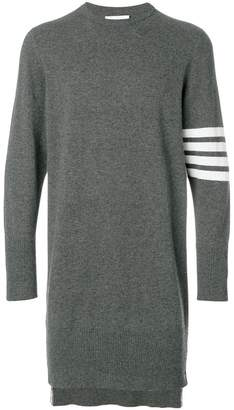 Thom Browne Long Crewneck Pullover With 4-Bar Stripe And Back Drop In Cashmere