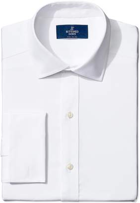 Buttoned Down Men's Fitted French Cuff Spread-Collar Non-Iron Dress Shirt