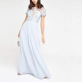 River Island Chi Chi London light blue pleated maxi dress