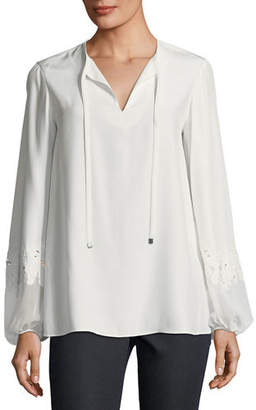 Lafayette 148 New York Eli Matte Silk Blouse, Plus Size