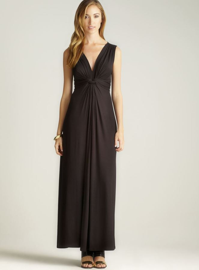 Chelsea & Theodore Back Tie Ruched V-neck Dress