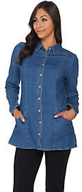 Denim & Co. Button Front Denim Tunic withPockets