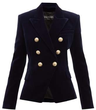 Balmain Double Breasted Velvet Blazer - Womens - Navy