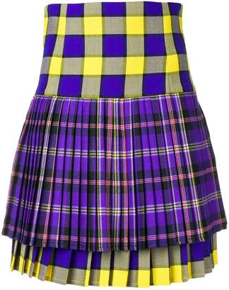 Versace pleated tartan mini skirt