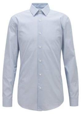 BOSS Hugo Slim-fit shirt in micro-print Italian cotton poplin 15 Dark Blue