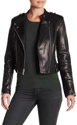 Andrew Marc Genuine Leather Gia Moto Jacket $795 thestylecure.com