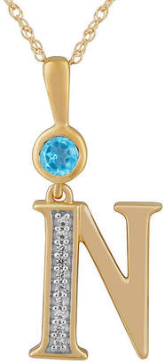 N. FINE JEWELRY Womens Genuine Blue Topaz 14K Gold Over Silver Pendant Necklace