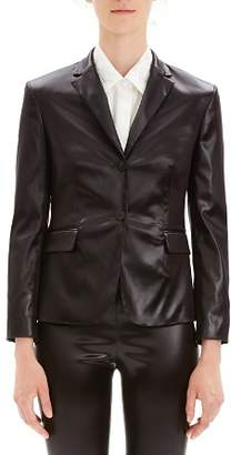 Theory Shrunken Faux-Leather Blazer
