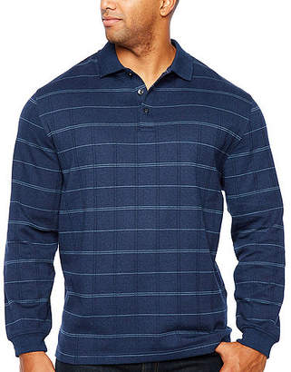 Van Heusen Long Sleeve Windowpane Knit Polo Shirt- Big and Tall