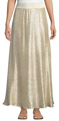 Marie France Van Damme Bright Metallic A-Line Maxi Skirt Coverup