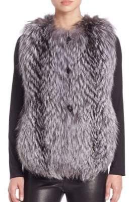 The Fur Salon Feathered Fox Fur Vest
