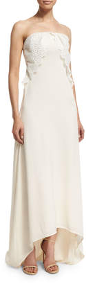 Self-Portrait Self Portrait Isabella Strapless Lace-Trim Gown, Off White