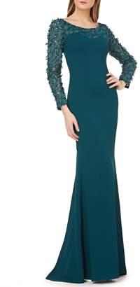 Carmen Marc Valvo Sweetheart Crepe Gown