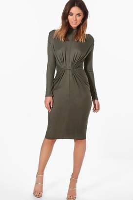 boohoo Rib Knot Front Bodycon Dress