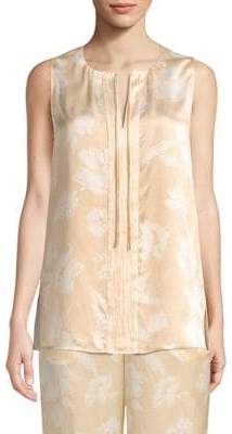 St. John Floral-Print Silk Sleeveless Top