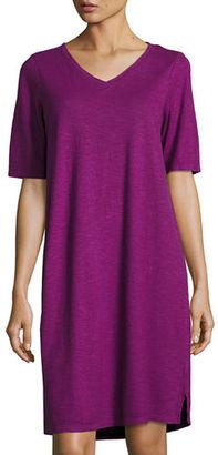 Eileen Fisher V-Neck Jersey Shift Dress $158 thestylecure.com