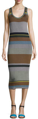 Diane von Furstenberg Striped Ribbed Tank Midi Dress, Blue Pattern $368 thestylecure.com