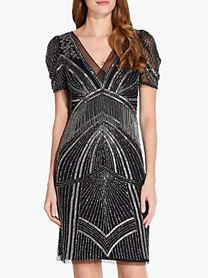 a3ec11ac184 Adrianna Papell Beaded Puff Sleeve Dress, Black/Mercury